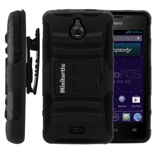 MINITURTLE Case Compatible w/ Huawei Ascend Plus Case, Huawei Ascend Plus Holster, Two Layer Hybrid Armor Hard Cover w/ Built in Stand for Huawei Ascend Plus H881C, Huawei Valiant Y301-A1 (Straight Talk, MetroPCS) | Includes Screen Protector - Black