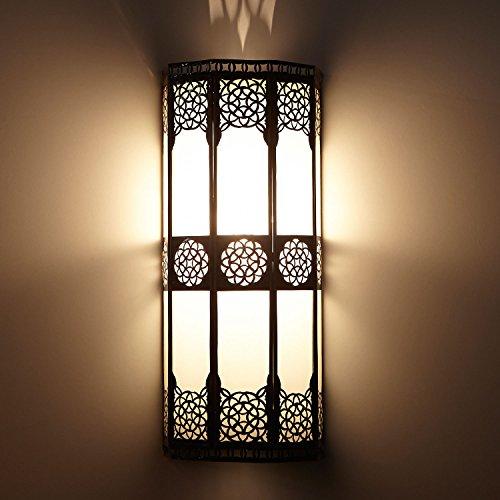 Orientalische Wandlampe marokkanische Wandleuchte Resmi H 44 x B 20 cm aus Metall & Milchglas | Schöne Dekoration für Wand & Flur | Kunsthandwerk aus Marrakesch | L1421