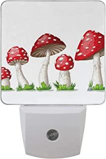 Plug-in Night Light Toadstool Red Fly Agaric Mushroom with Green Grass On White Auto Sensor LED Dusk to Dawn Night Light for Bedroom,Hallway,Stairs