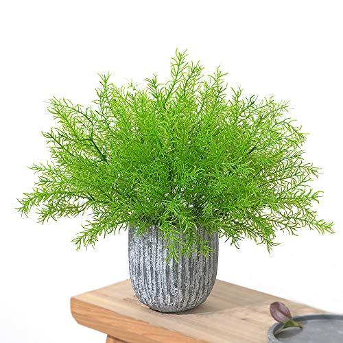 MZMing Lot de 6 bouquets de plantes artificielles réalistes en plastique Arbustes et buissons verdoyants artificiels artificiels pour intérieur extérieur maison bureau cuisine jardin balcon décoration