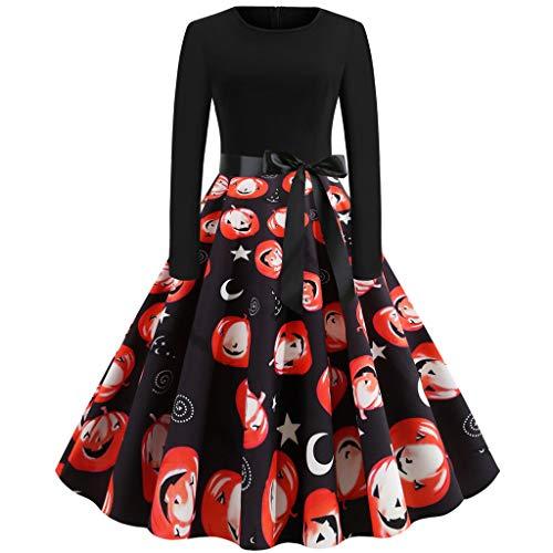 RISTHY Vestidos a Media Pierna para Mujer Disfraces de Halloween de Manga Larga Vestido Vintage Estampado de Calabaza