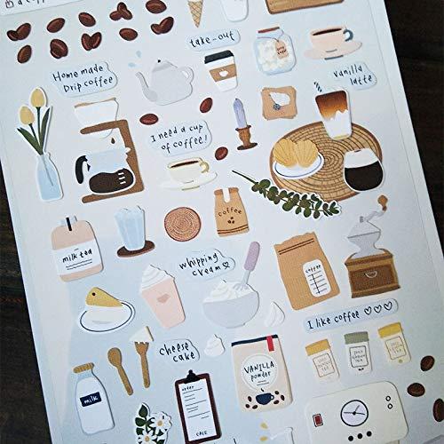 TTBH Kawaii Kaffee Aufkleber Süße Briefpapier Aufkleber Retro Papier Klebstoff Aufkleber Für Kinder DIY Scrapbooking Tagebuch Fotos Alben1Pc