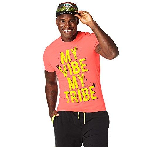 Zumba Fitness Hombre Vibe My Tribe té Hombres Tops, Todo el año, Hombre, Color Coral Craze, tamaño Extra-Small