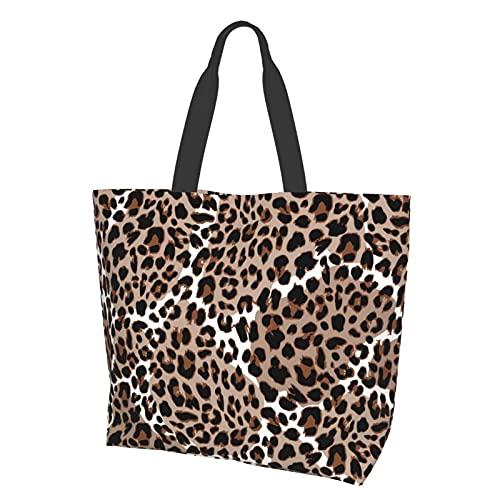 Tote Bag Schultertasche Handtasche Leopard oder Jaguar Nahtloses Muster Modern Tier Vektor Große Kapazität Reise Aufbewahrungstasche Satchel Bag für Frauen Studenten Shopping Reisen