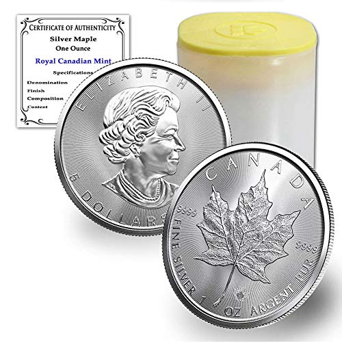 CA 1988 - Present (Random Year) Lot of (10) 1 oz Silver Canadian Maple Leaf Coins Brilliant Uncirculated with our Certificates of Authenticity by CoinFolio BU