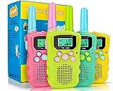 Walkie Talkies para niños, 22 Canales, Radio Bidireccional, 3KM de Largo Alcance, VOX, Conversación con Linterna, Walkie-Talkies Interfono de Mano para Niños de 3~12 Años, Acampar, Senderismo (4Pcs)