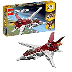 Build and rebuild three models with this 3-in-1 set; build the Futuristic Flyer and then rebuild and head into space with a Futuristic Spaceship or enjoy sci-fi fun with a flying Futuristic Robot The Futuristic Flyer toy airplane features forward swe...