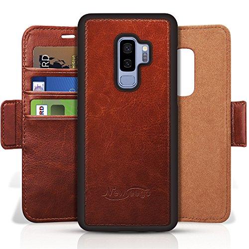 Newseego Schutzhülle für Galaxy S9 Plus, Leder, Brieftaschen-Hülle, abnehmbare 2-in-1-Brieftaschen-Folio, Premium veganes 2-Wege-Standfunktion, klappbar, schlankes Etui mit Geschenk-Box braun