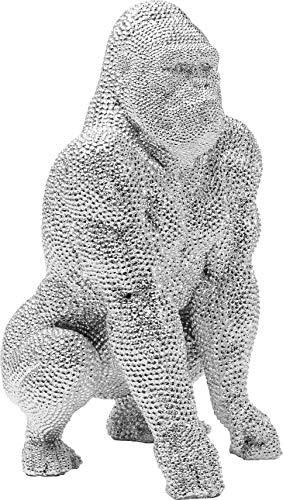 Kare Design Deko Figur Shiny Gorilla Silber 46cm, Dekoobjekt Gorilla silber, Deko Affe,Strassobjekt, (H/B/T) 46x28x28cm