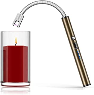 Boncas Flexible Arc Lighter USB Candle Lighter Plasma Lighter Rechargeable Windproof Lighter Long for Household Camping Cooking BBQ Olive Gray (Candle Not Include)