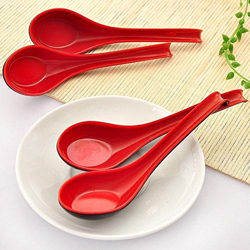 dealglad® Suppenlöffel im Chinesischen Stil, Rot-Schwarz, Melamin, langer Griff, Melamin, rot / schwarz, 17 x 4 x 1.2cm