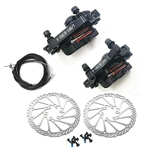 BlueSunshine MTB BB7 Mechanical Disc Brake Front and Rear 160mm Whit Bolts and Cable