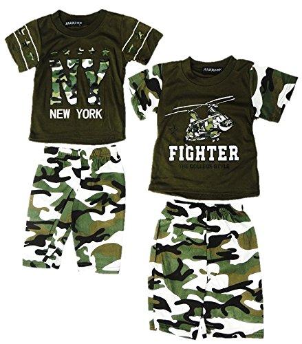 Onbekend 2-pak jongens 2-delig pak shirt + broek maat 92-128 camouflage