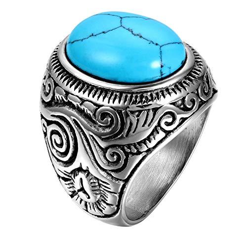 OIDEA Anillo de Acero Inoxidable para Hombre Mujer Piedra de Turquesa Artificial Joyería Regalo Halloween San Valentín Compromiso Boda, Azul Plata