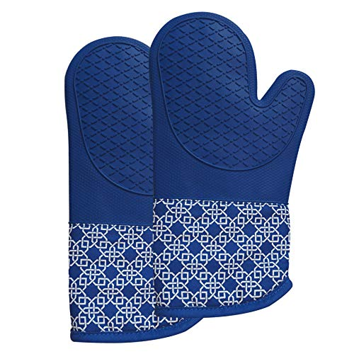 Heat Resistant Silicone Shell Kitchen Oven Mitts for 500 Degrees with Waterproof, Set of 2 Oven Gloves with Cotton Lining for BBQ Cooking Set Baking Grilling Barbecue Microwave Machine Washable Blue