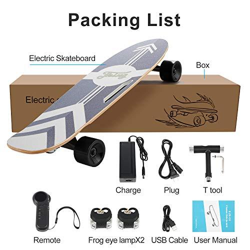 Caroma 28inch Elektro Skateboard, Elektro-Board, Skateboard elektrisch mit Motor, E-Skateboard, E-Board, Ahornholz Deck, 350W Motor | Reichweite 7 km, Max. Geschwindigkeit 20km/h (schwarz)