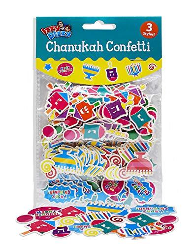 Izzy 'n' Dizzy Chanukah Confetti - 3 Styles: Menorahs, Dreidels and Happy Chanuka - Hanukkah Party Decorations and Supplies