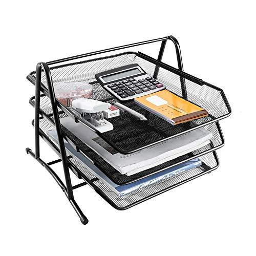 Cocoarm Papierablage Metall Ablagefächer Dokumentenablage Ablagesystem 3 Fächer Metall Mesh für Schreibtischablage Briefablage Papierablage Briefkorb Organizer