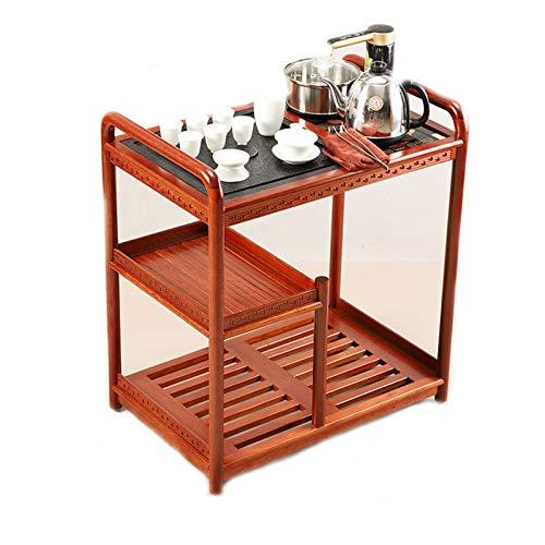 TWW Beweglicher Teetisch, Wasserkocher, Teetisch, Teeservice, Wohnzimmer, Teeschrank, Ebenholzfarbe, Kleiner Haushalts-Massivholz-Teewagen,Metallisch