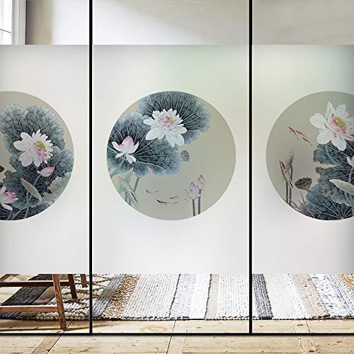 Xijier Película de privacidad para ventanas de ventana redonda, diseño de loto clásico, no adhesiva, para ventanas, puertas, ventanas, ventanas, tintes, decoración para el hogar, 45 x 65 cm