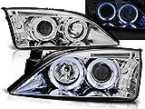 Faros compatibles con Ford Mondeo 2000 2001 2002 2003 2004 2005 2006 2007 GV-1298 faros delanteros Ángel Ojos cromados