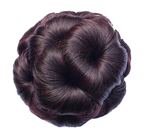 Fetta di capelli finti con fermaglio per capelli, facile da indossare [vino rosso]