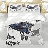 BEDNRY Juego de Ropa de Cama,Fiesta de Despedida Cartel de avión Retro Inspirado Bon Voyage Permite Viajar Fly Vintage Print,1 Funda Nórdica 140x200cm y 2 Funda de Almohada