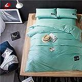 LOIKHGV Textiles para el hogar Juego de Cama 100% algodón Funda de Cama Azul Cielo Funda nórdica Colorida 4pcs / Set Juego de Cama Queen Ropa de Cama Breve Cama Priting, Verde Menta, King