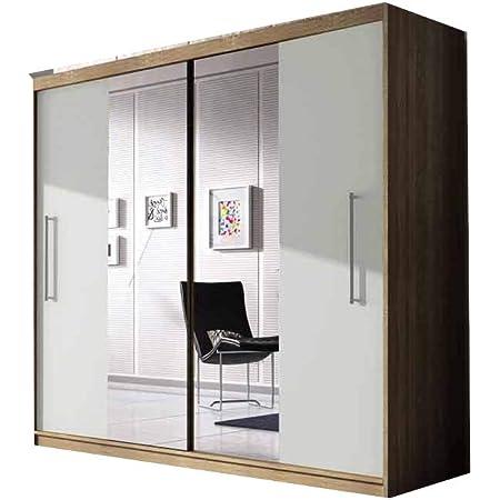 E-MEUBLES Armoire de Chambre avec 2 Portes coulissantes | Penderie (Tringle) avec étagères (LxHxP): 204x218x58 Nico avec Miroir (Sonoma+ Blanc+ Miroir)