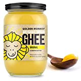Organic Grass Fed Ghee Clarified Butter – 16 Oz Ghee Butter – Unsalted Butter Organic Ghee Oil – Perfect for Paleo, Keto, Lactose & Gluten Free Diet
