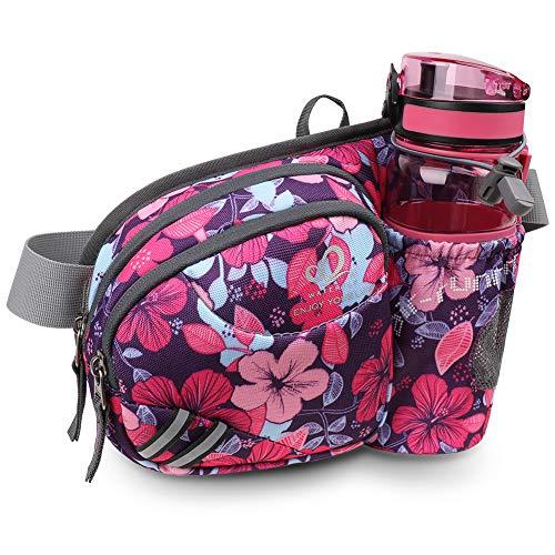 WATERFLY Taille Tasche mit Flaschenhalter Damen und Herren, Atmungsaktiv Hüfttasche mit Reflektorstreifen für Laufen Radfahren Camping Klettern Reisen für iPhone 6/7/8 Plus Samsung 6,5 Zoll