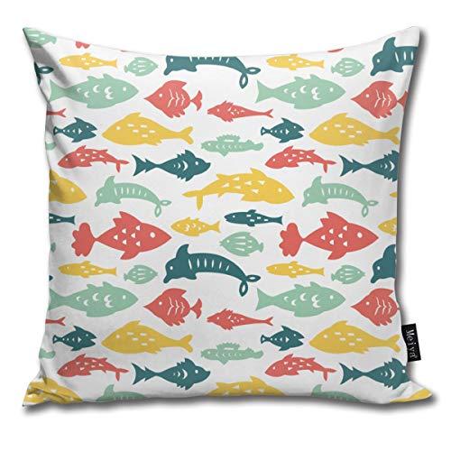 Elsaone Colorful Sea Fishes Throw Pillow Covers Car Sofa Cushion Cover Pillowcases Home Decor 18 x 18 Inch 45 x 45 cm