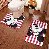 Mi-ck-ey Mo-use Happy Time - Alfombrilla antideslizante para baño, 2 juegos de alfombras, alfombrilla para el baño, ducha en casa