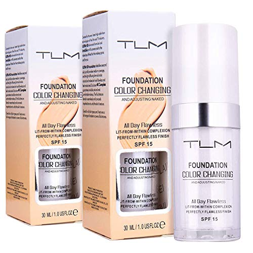 2 Packs Colour Changing Foundation - 30ml Foundation Cream, SPF 15 All-Day Flawless Foundation Makeup