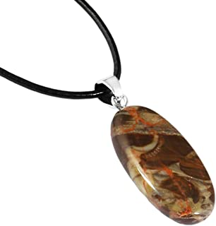 """SUNYIK Simple Oval Shaped Healing Crystal Stone Pendant Long Necklace for Women, Friendship Jewelry 12""""-13"""" Strand"""