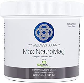 Max NeuroMag - Patented Magnesium for The Brain Featuring 3 Forms of Magnesium Including L-Threonate- Great Tasting, Natural Mixed Berry Flavor- Drink Mix- 60 Servings- 5.29 oz (150 g)