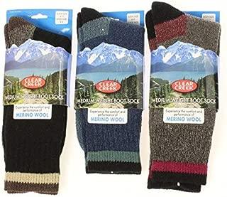 Clear Creek Men's Wool Thermal Boot Socks Marled Black Purple - Assorted Colors