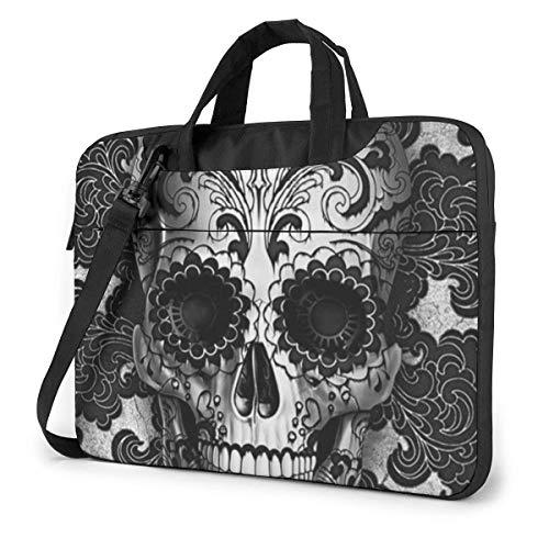 Sugar Skull Black Laptop Shoulder Bag 15.6 Inch Laptop Messenger Case Laptop Sleeve Carrying Case with Strap