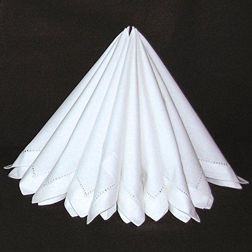 heimtexland Edle Stoffservietten 2er Pack in weiß mit Hohlsaum 40 x 40 cm Servietten aus Stoff Ökologisch 100% Baumwolle Maschinenwäsche 60° Typ522