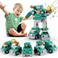 STEM Take Apart Toys Cars for Boy and Girls, 5 in 1 Building Sets Toy with Light and Mecha Sound, Military Vehicles, Assemble and Combine Early Educational Gift for Kids Age 3 & Up