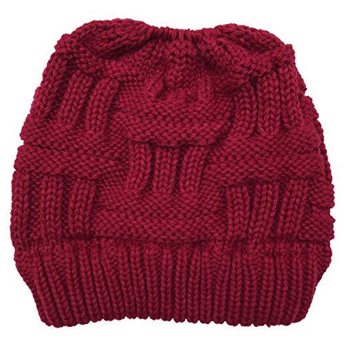 gulang-keng Gorro de punto grueso para mujer, para invierno, con agujero para coleta, color sólido, elástico, para clima frío