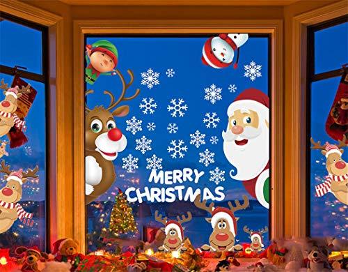 Yutdeng Vetrofanie Natale Adesivi Addobbi Fai da Te Finestra Vetrina Stickers Decorazione Adesivi Babbo Natale Rimovibile Statico Adesivi in PVC