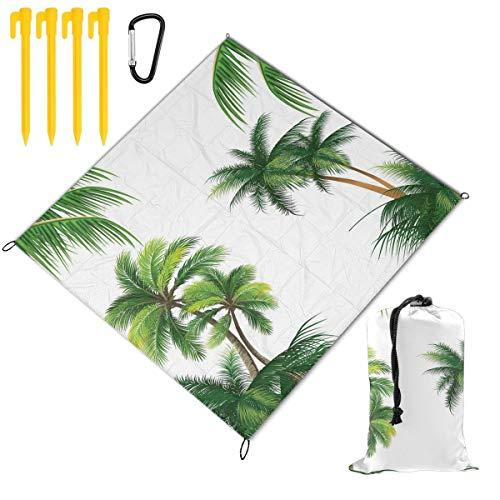 VORMOR Manta de Picnic 145x150cm,Coco Palmera Naturaleza Paraíso Plantas Follaje Hojas Ilustración Digital,Mantas de Playa al Aire Libre Impermeable Impermeable Estera