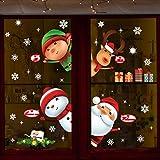 Pegatinas De Navidad Arbol Fiesta Extraíbles Adorable Papá Noel Nieve Alce Colores Pegatina De...