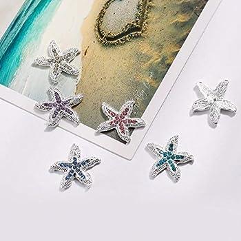 Xucus Rhinestone Button 23mm Invitation Embellishment for DIY Crafts Starfish Decorative Accessories 100PCS/lot BTN-5399  -  Color  Aqua