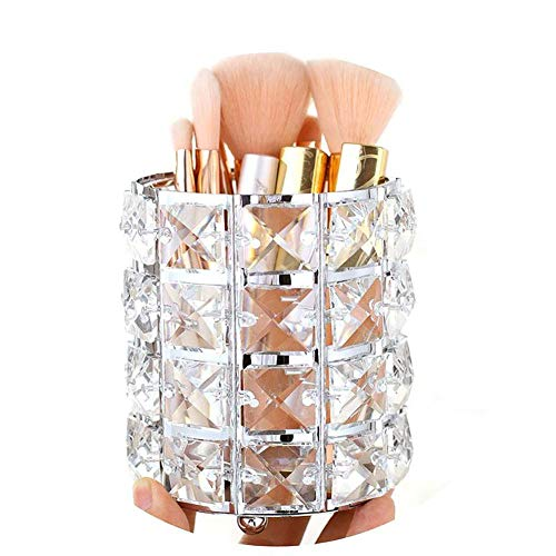Pahdecor Handcrafted Crystal Makeup Brush Holder Eyebrow Pencil Pen Cup Collection Cosmetic Storage Organizer for Vanity,Bathroom,Bedroom,Office Desk (Silver)