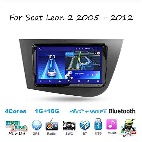 Android 10.0 Car Stereo Radio Double DIN Sat Nav para Seat Leon 2 2005-2012 Navegación GPS Reproductor Multimedia con Pantalla táctil de 9 Pulgadas Receptor de Video con 4G DSP RDS