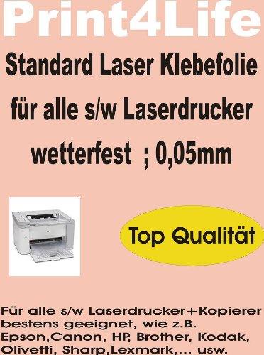 P4L - 10 Blatt DIN A4 Standard Laser Kopierer Klebefolie klar wetterfest