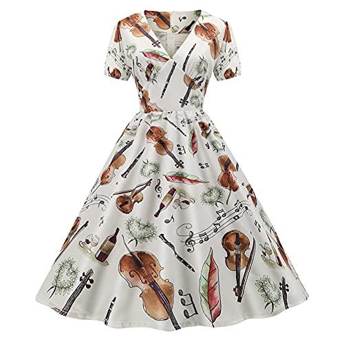 pamkyaemi Vestido de verano para fiestas, para mujer, largo por la rodilla, con estampado de flores, vestido grande, elegante, vestido 2021, vestido de fiesta, vestido de cóctel marrón1 L
