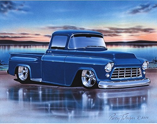 1955 56 Chevy 3100 Stepside Pickup Hot Rod Truck Art Print Blue 11x14 Poster